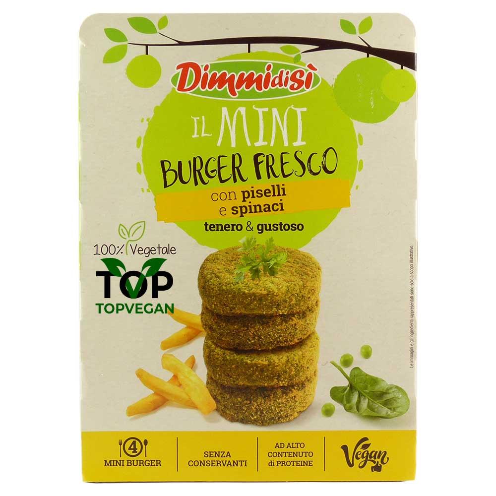 mini burger vegani piselli spinaci dimmidisi