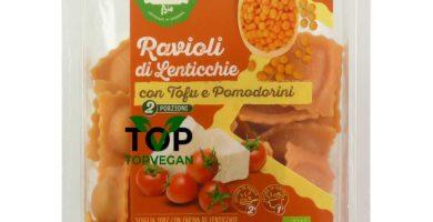 ravioli di lenticchie tofu pomodorini pasta fresca rossi